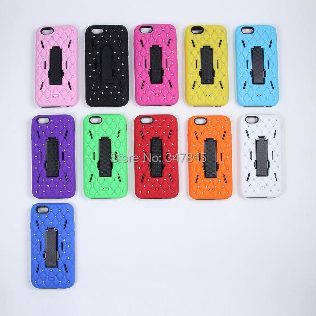 Здесь можно купить  10 pcs/lot Fashion Diamond Spot drill stand PC+silicon Protective back cover case For Apple iPhone 6  Телефоны и Телекоммуникации