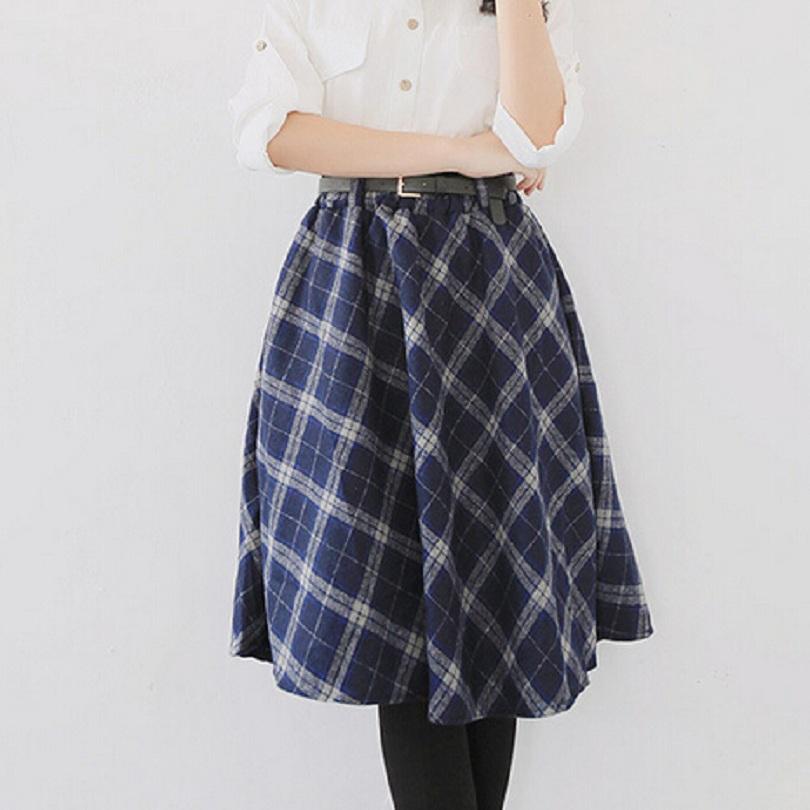 2015 winter midi skirt plaid style check pattern