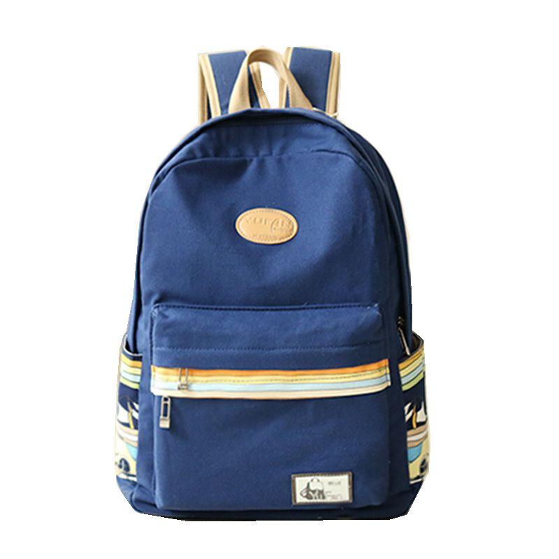 New 2016 Fashion Solid Little Striped Canvas Women Bag Backpacks School bag Ladies Girl Back Pack Schoolbag Bagpack Mochila