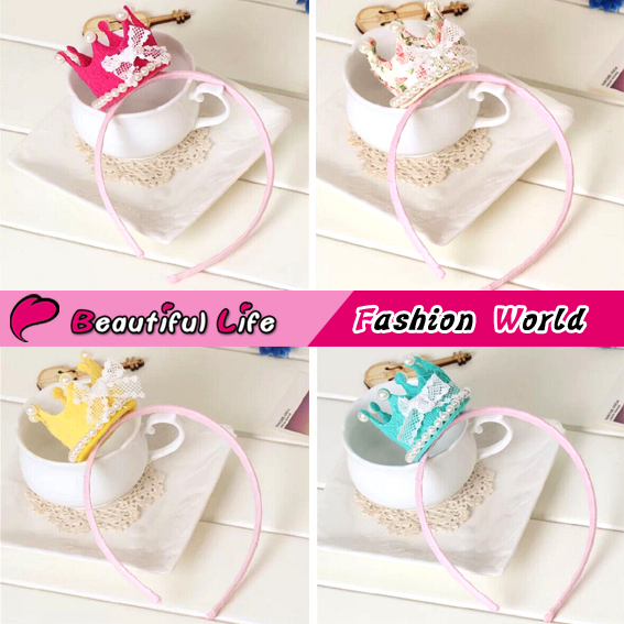 Korean Fabric 3D Tiaras Kids Hairband For Baby Girls Crown Mix Color Party Headband Supplies Children's Headwear Free Shipping(China (Mainland))