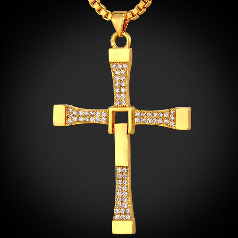 Zirconia Cross Pendant Christian jewelry Christmas Gift Wholesale Platinum/18K Real Gold Plated Chain Cross Necklace Men P1685(China (Mainland))