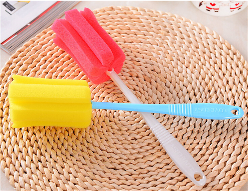 1peice Long Handle Cup Brush For Deep Container Sponge Brushes Super Cleaner Kitchen Sponge Deep Bottle Cup Feeder Cleaning_35(China (Mainland))