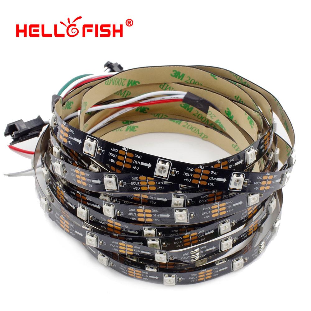 HELLO FISH 1M Built-in WS2812B Full Color LED strip,30 LED 30 pixels, Raspberry Pi Pixel matrix Display Arduino DIY led strip(China (Mainland))