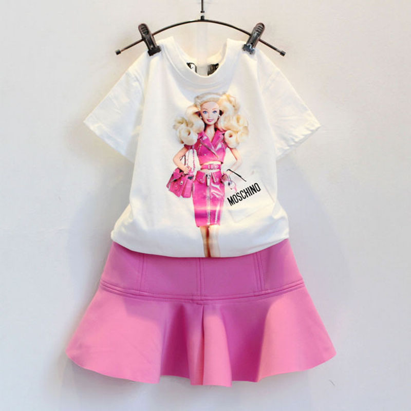 2016 summer clothing set new baby girls cotton cartoon print t shirts+pink skirts kids casual outfits suit European Style  -  Teenage store(drop shipping store)