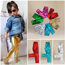 2015 Children Baby Kids Girls Shiny Cool Coated Skinny Pants Trousers 1~9Y (China (Mainland))