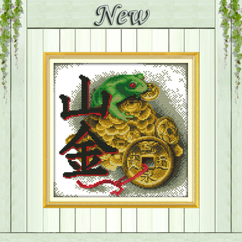 Vein gold toad,Chinese style Home Decor,11CT pattern printed on the canvas DMC Cross Stitch kits,14CT needlework Set embroidery