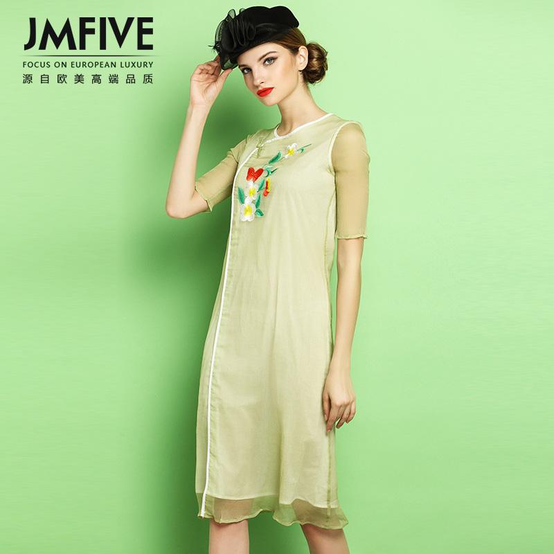 JMFIVE2016 summer new women Europe short sleeved printed silk silk dress spring cultivation(China (Mainland))