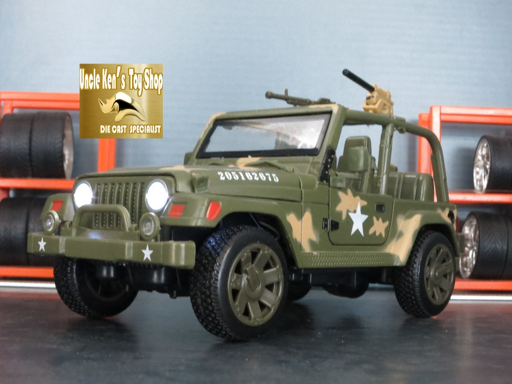 1/32 Diecast car model military jeep, kids toys with gift box/openable doors/music/light/pull back function as souvenir(China (Mainland))