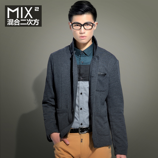 Mix2 2013 spring new arrival male stand collar solid color fashion sweatshirt l31s03b1
