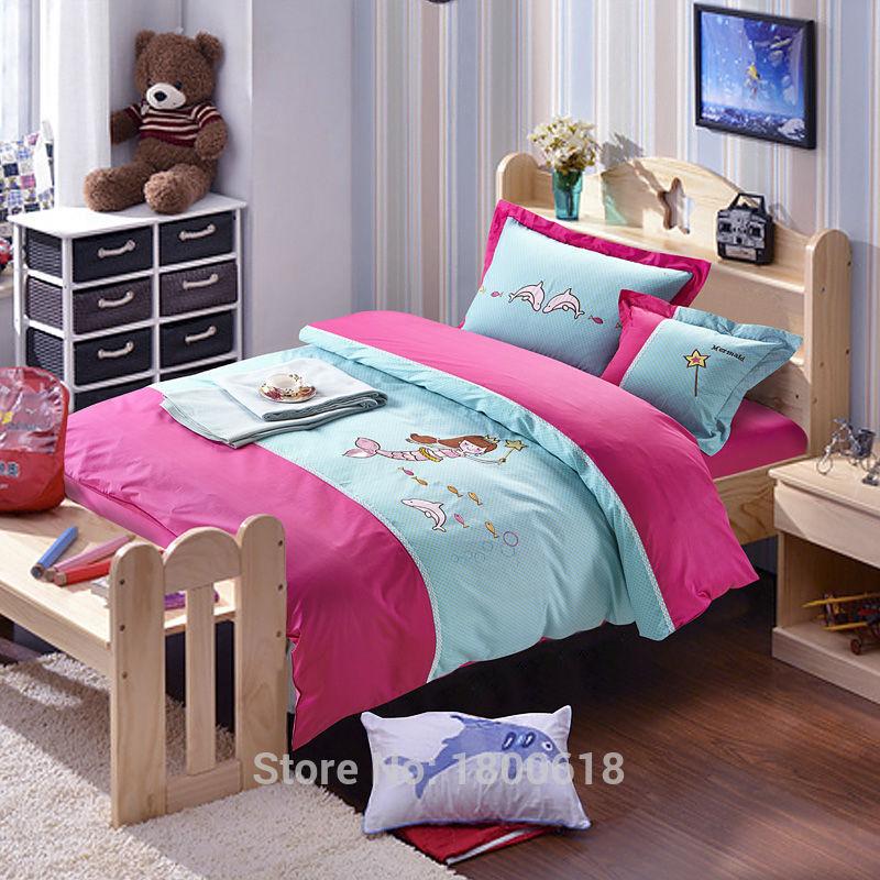 2015 New Magic Mermaid Kid Comfort Set Cartoon Style Duvet Cover Cheap Round Corner Bed Sheet Bedding Set Chinese Manufacturing(China (Mainland))