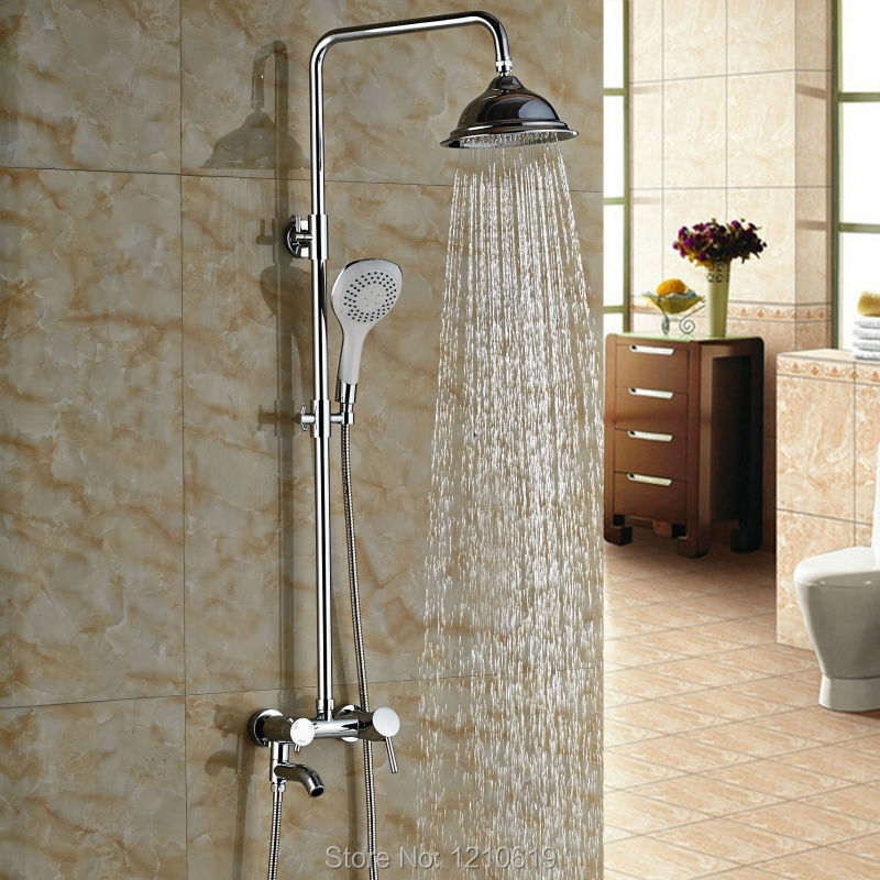 Newly 8 Inch Bathroom Shower Faucet Set w/ ABS Handheld Shower Chrome Finish Rain Shower Mixer Tap Single Handle