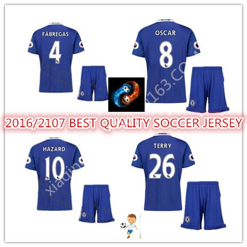 New 2016 2017 KIDS OF Chelseaes 16 17 home blue HAZARD DIEGO COSTA CUSTOM shirt free shipping zz(China (Mainland))