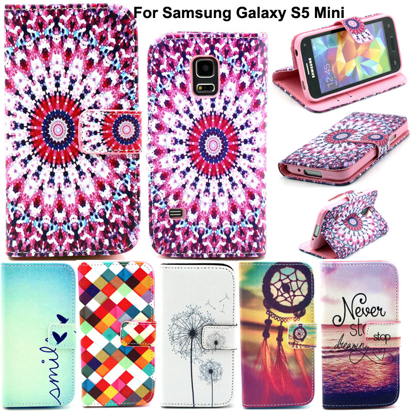 For Samsung S5 Mini Wallet Cases Fashion Luxury Leather Cell Phone Flip Cover Case For Samsung Galaxy S5 Mini G800 Card Slots(China (Mainland))