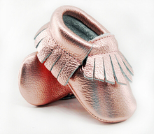 New Shine Pink Genuine Leather Baby moccasins First Walkers Soft Rose gold Baby girl shoes infant Fringe Shoes 0-30 month(China (Mainland))