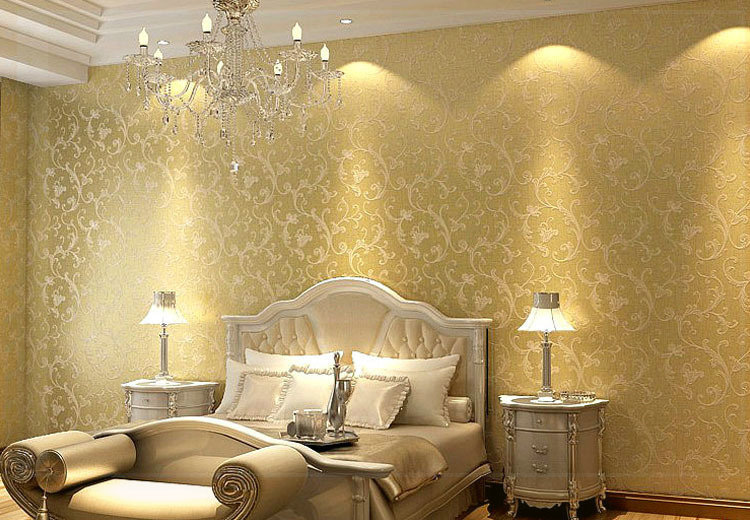 Netherland victorian non woven bedroom textured glitter for Gold wallpaper living room