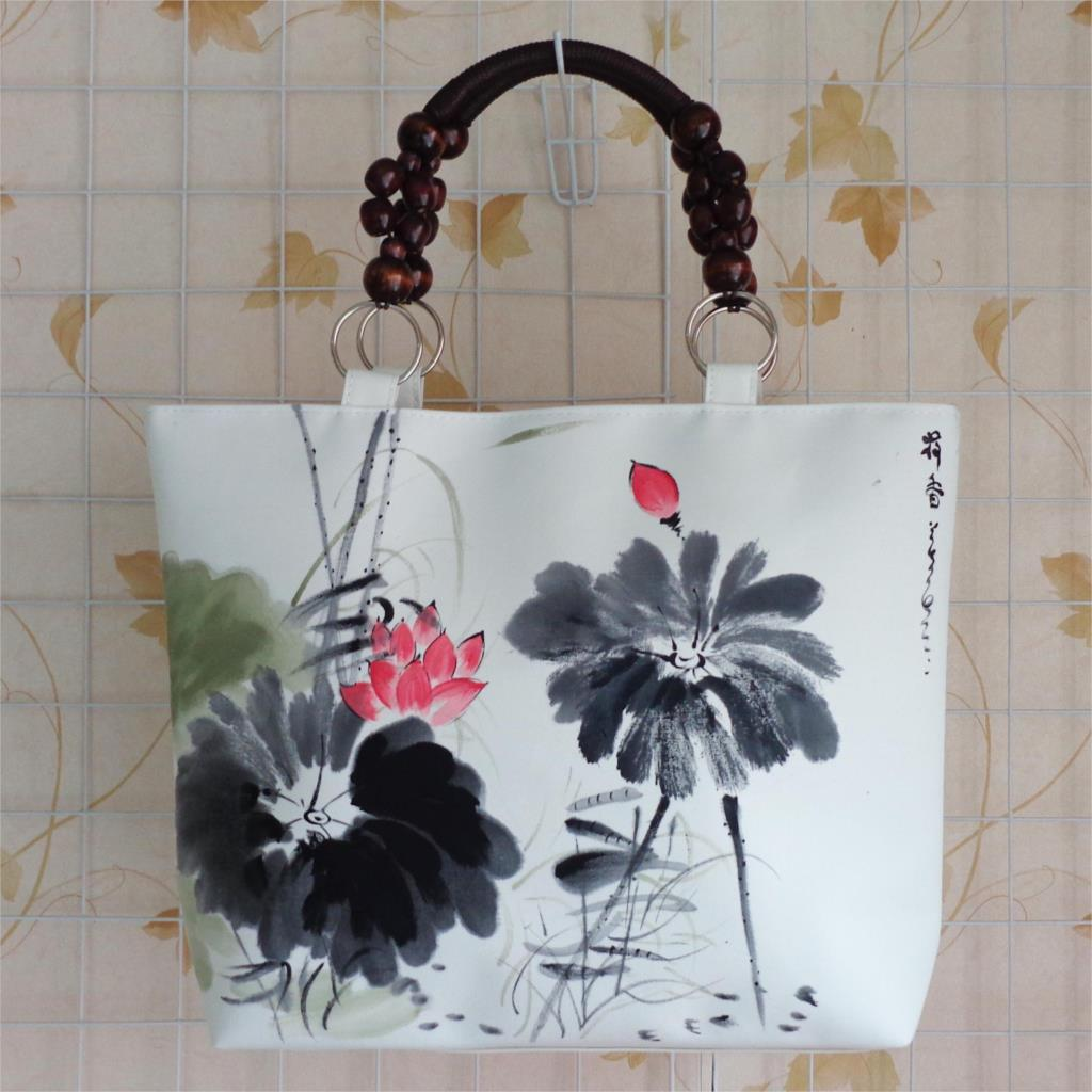 vintage handbag unique national chinese ink floral hand painting Shoulder bag temperate wood beads Travel shopping tote bag(China (Mainland))