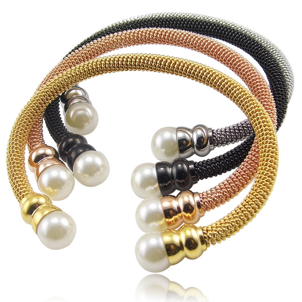 love Vintage pearl bangle bracelets bangles jewelry titanium for women 18k gold filled stainless steel luxury bangle in india(China (Mainland))