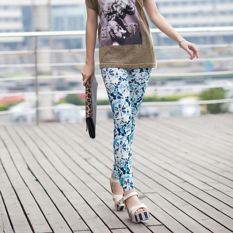 Wind fire wheels faux denim legging ankle length trousers multicolour doodle slim korean style warm - Maya Fashion store