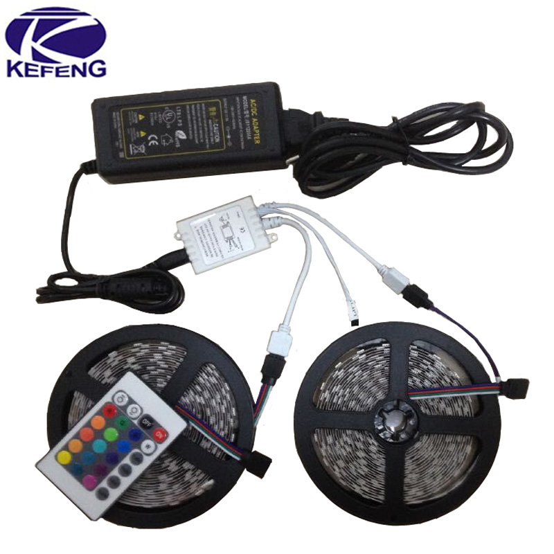 10M(2x5M) 5050 RGB LED Strip Lights Non Waterproof 60leds/m SMD Lamps+24 key IR Remote Controller+12V 6A Power Adapter Promotion(China (Mainland))