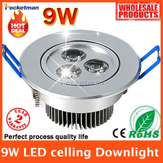 Led Downlights (1pcs/lot) 9w led down light Aluminum materail 85-265v light For Home Lighting Decoration Free shipping(China (Mainland))