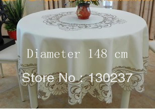 010/ Diameter 148 cm/Round European style embroidered tablecloths / table mat / hand towel / coffee table tablecloth(China (Mainland))