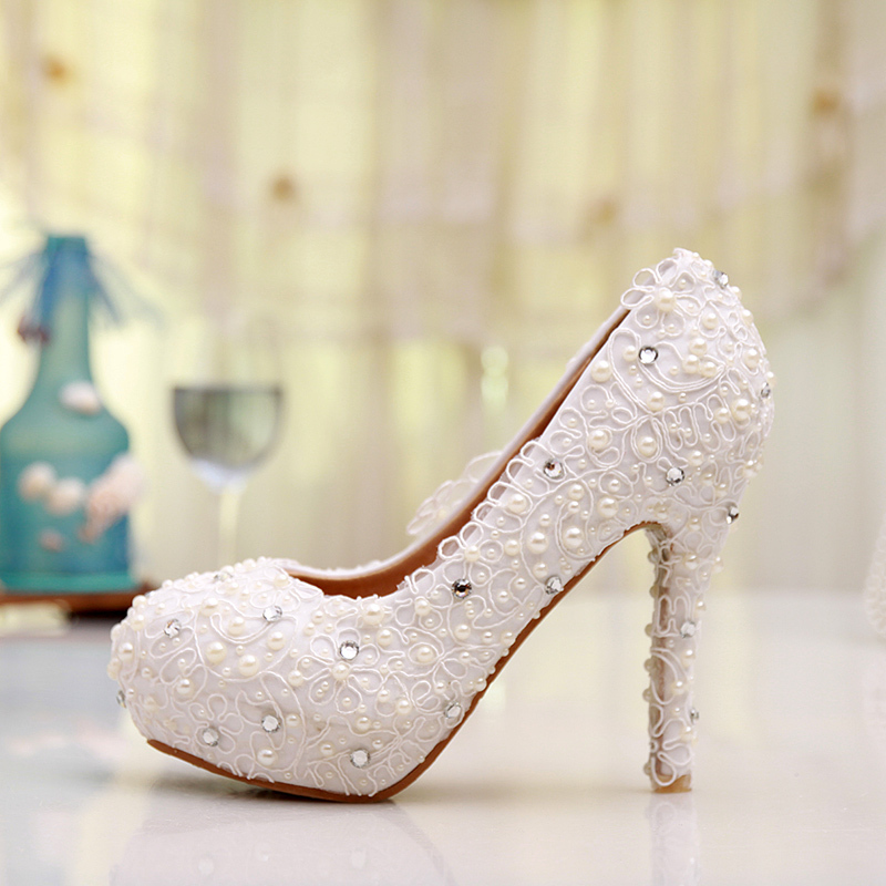 Free shipping plus size lace wedding shoes white high heel for Comfortable wedding dress shoes