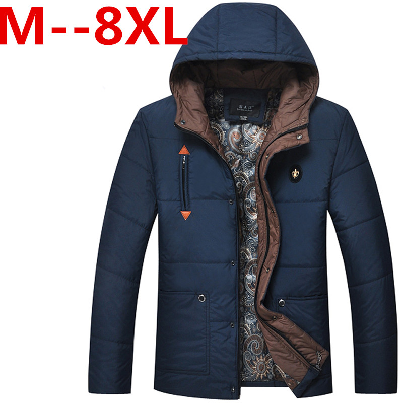 8xl 7xl 6xl plus size 2015 New Jacket Men Cotton Parka Warm Thickening Solid Slim Winter Hooded Jacket&Coat Jaqueta Masculina(China (Mainland))
