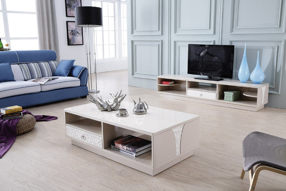 Lizz Contemporary White Living Room Furniture TV Stand And Coffee Table Moder