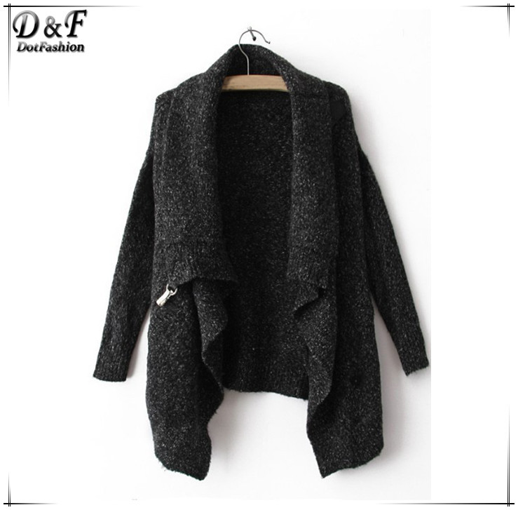 2015 Autumn/Winter New Fashion Design Cool Black Long Sleeve Knitwear Korean Crop Cute Oversize Knitted Casual Cardigan Sweater(China (Mainland))
