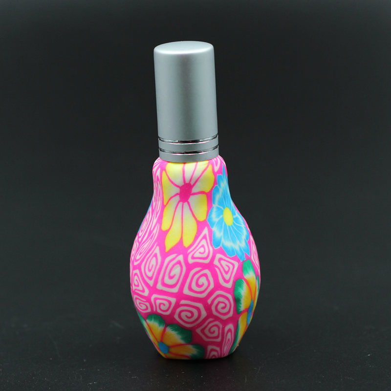 2 20ml Clay + Glass travel perfume atomizer refillable spray empty bottle aluminum glass scent