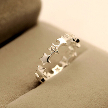Star Crystal 925 sterling silver jewelry gift Adjustable Hypoallergenic ring free shipping nickel-free