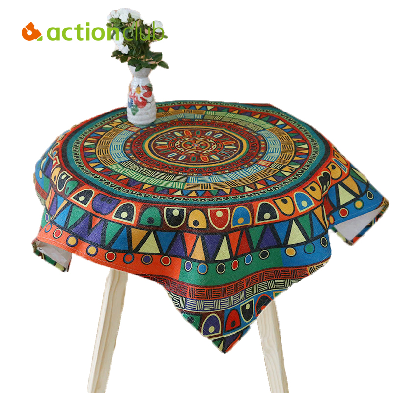 Actionclub Indian Pastoral Tablecloth Fabric Nappe Table Cover Cotton Linen Living Room Tablecloth Colorful Table Cloth Custom(China (Mainland))