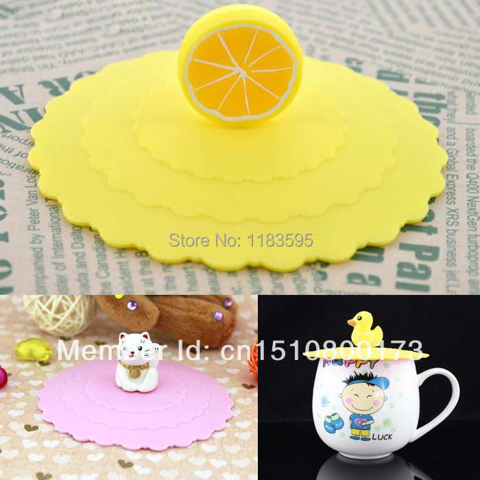 1PCS Free Shipping Silicone Airtight Cup Cover Leak Proof Sealed Coffee Mug Suction Lid Cap Lovely xWNf(China (Mainland))