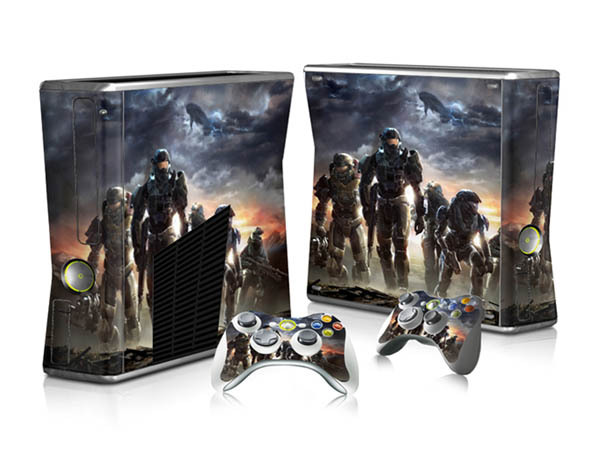 Halo Game Protector Vinyl Full Set Sticker for Xbox 360 Slim Console+2 Controllers Vinyl Skin Sticker(China (Mainland))