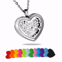 Buy 1X Women Necklace Silver Plated Heart Hollow Pattern Wish Box Pad Perfume Essential Oil Aromatherapy Diffuser Locket Necklace for $7.59 in AliExpress store
