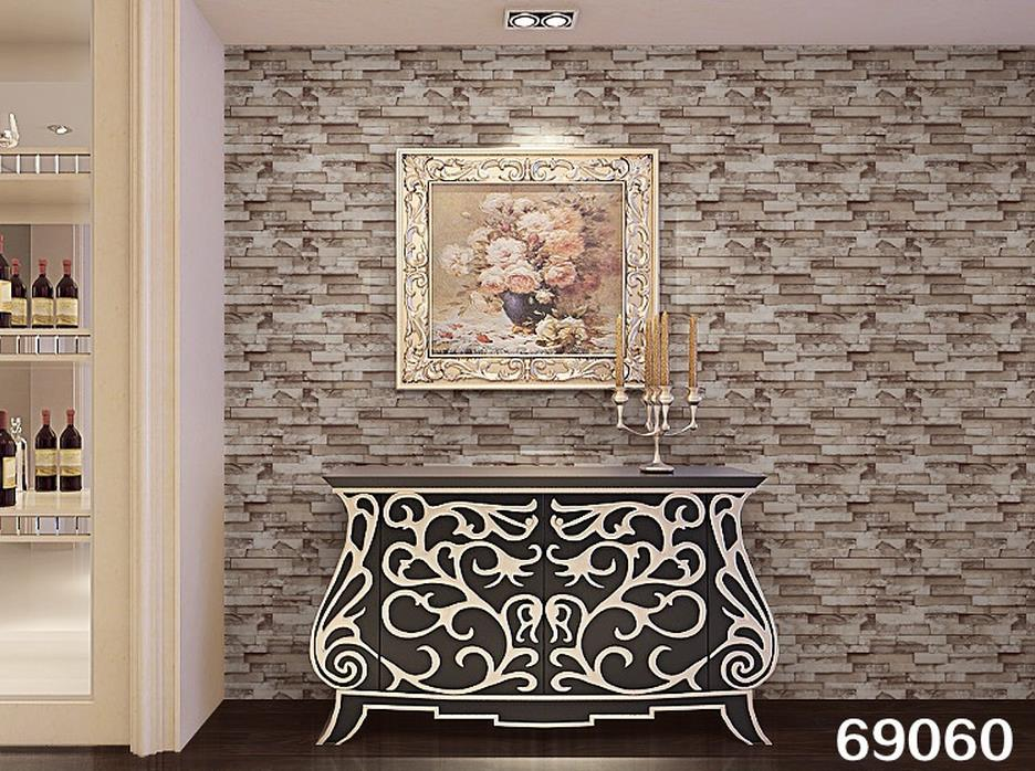 PVC tile vintage wallpaper 3D stereoscopic simulation imitation brick pattern wallpaper stone wall culture(China (Mainland))