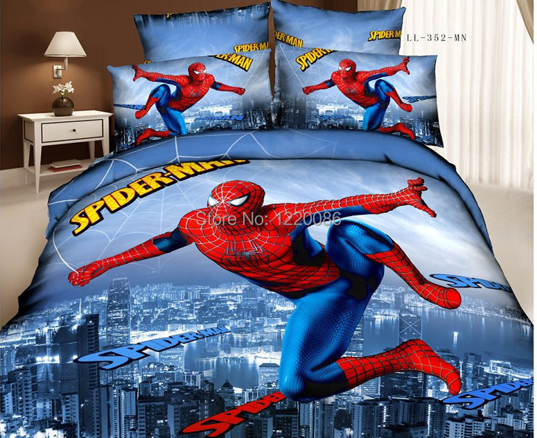 New Fashion Spiderman Superman Bedding set 500TC 100%cotton 4pc Bedclothes Duvet cover bed linen Comforter cover Queen size(China (Mainland))