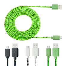 Buy 1M/2M/3M Nylon Braided Micro USB Cable Charger Data Sync Cable Cord Samsung Galaxy Cell phones /8 colors for $1.44 in AliExpress store