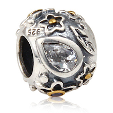 Free Shipping 100% 925 Sterling Silver Bead Charm Europe Flower Ball Bead Austria Imports Rhinestones Fit Bracelet 0529(China (Mainland))