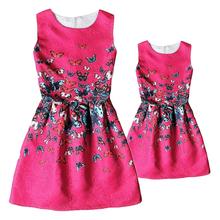 Family look Printing Floral European Style Formal Rose Elegant Women Dress Mutter Tochter Kleidung mae filha