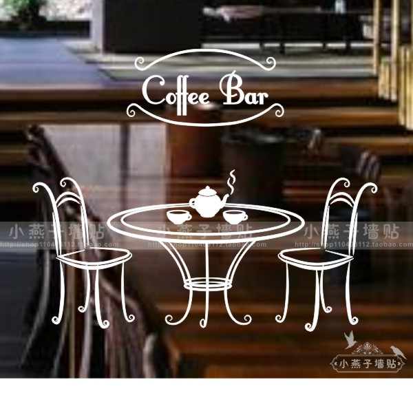 Coffee Shop Table Vinly Art Wall Sticker Coffee Seat Coffee Table Mural Art Wall Decal Coffee Tea Shop Window Glass Decoration(China (Mainland))
