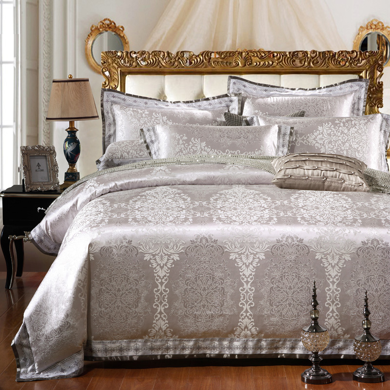 sunnyrain 4 6 pieces silver luxury bedding set queen king size bed set jacquard lace duvet cover. Black Bedroom Furniture Sets. Home Design Ideas