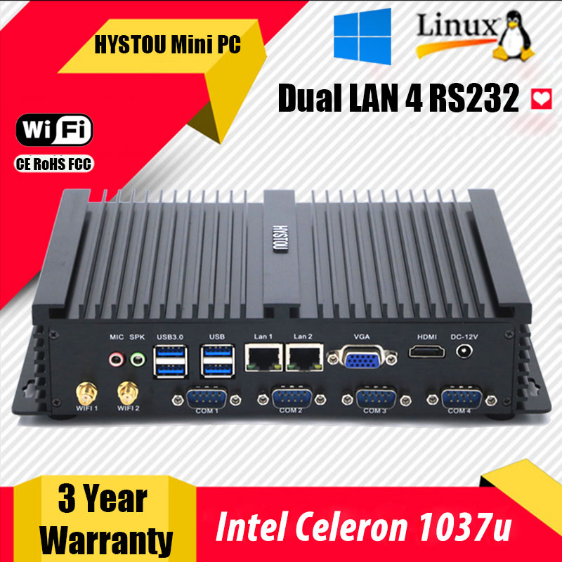 Intel Celeron 1037u Cheap Industrial PC I5 3317u with 8USB Ports Mini Industrial PC Portable Linux Fanless Mini Industrial PC(China (Mainland))