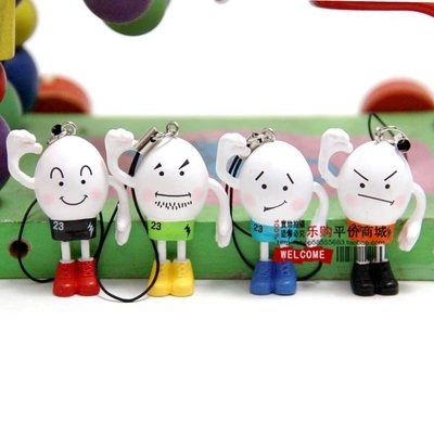 4cm 4pcs/set PVC Cute egg boy Cartoon Doll Action Figures movie Cell Phone Strap Charms mobile chain Strings Strap MPS058(China (Mainland))