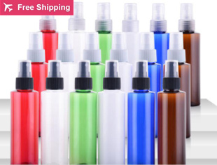 100ml round shoulder spray bottle Plastic packing(white nozzle),PET refillable perfume bottle with PP atomizer spray/mist,(China (Mainland))