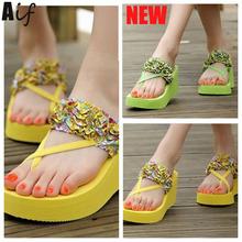 2016 Woman Sandals & Flip Flops fashion ladies sandals comfortable shoes woman's Floral vacation sandal summer shoes ALF109