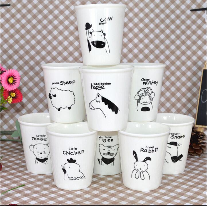 1PC Ceramic mug zodiac personalized cup brief water mini animal coffee and milk cute fashion readily mug E-6 free shipping(China (Mainland))