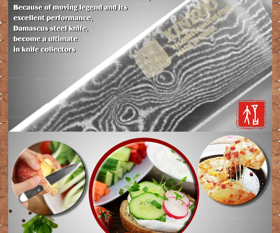 "Buy 5"" inches utility knife 73 layer Japanese Damascus steel kitchen knife knife high quality sharp fruit paring knife Free shipping cheap"