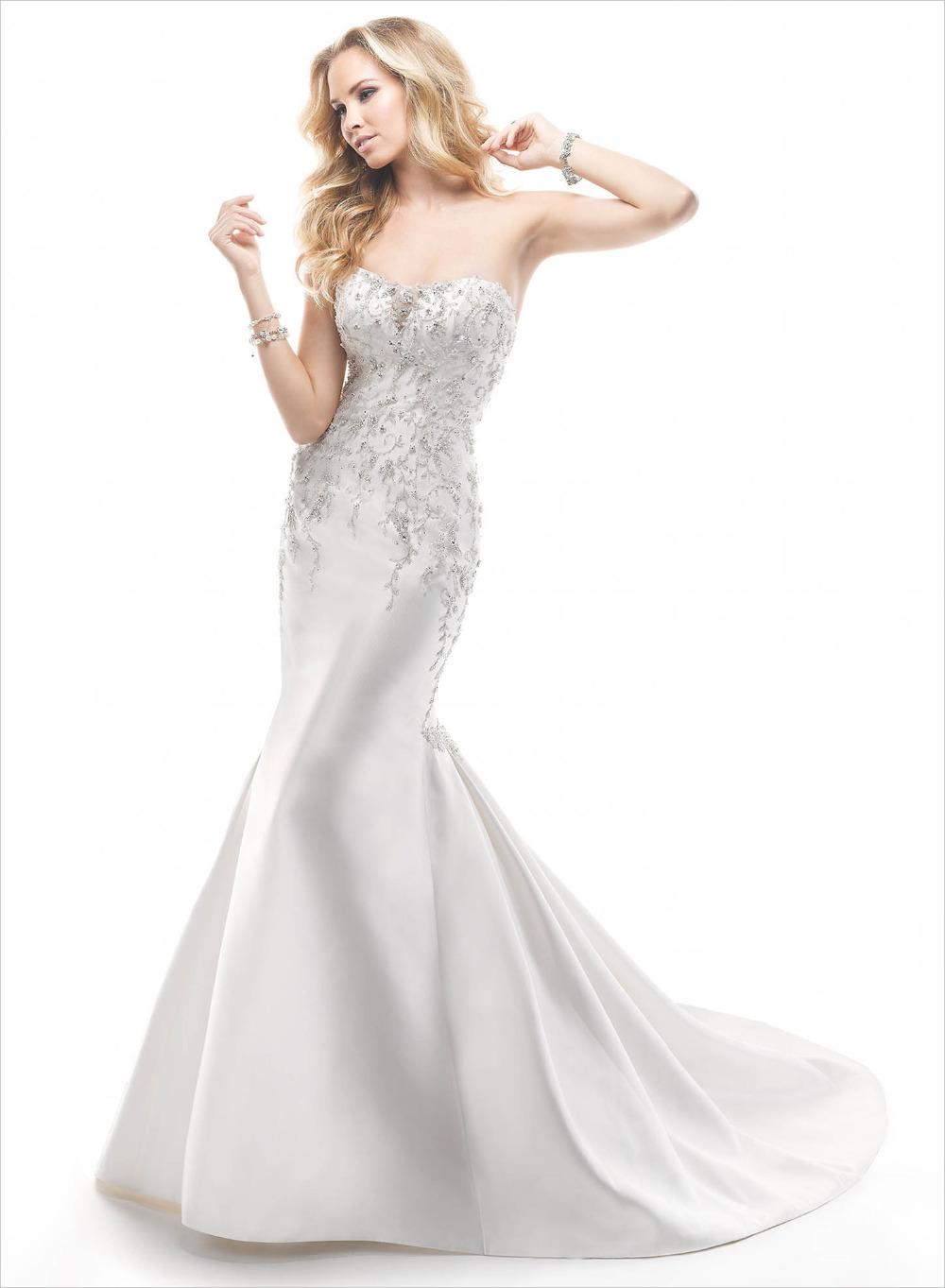 Custom-madeNew listing on the 2014 air quality mermaid wedding dress high fashion elegant strapless beaded sleeveless(China (Mainland))