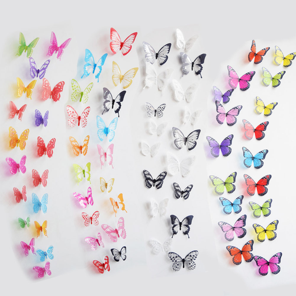 New Home Decor 3D DIY Wall Sticker poster Butterflies PVC Removable Room Decal Art sticker 18 Pcs Free Shipping hot sale(China (Mainland))
